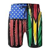 Feng Huang Short de Coupe Slim Homme American Half Guyana Flag pour Hommes Garçons XL