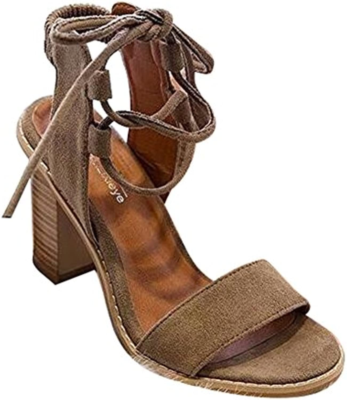 Pinke High Heels Sandaletten - Mode Sommerschuhe Römersandalen Peep Toe Chunky Sandalen Lace-up Party Freizeitö