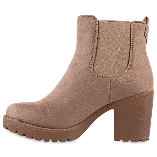 Damen Stiefeletten Chelsea Boots Profilsohle Blockabsatz Schuhe Taupe