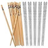 AckMond 5 Paar natürliche Bambus Essstäbchen und 5 Paar Edelstahl Essstäbchen