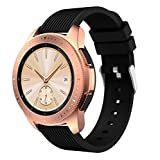 YuStar Ersatz-Armband für Samsung Galaxy Watch 42 mm/Gear S2 Classic/Huawei Watch 2nd / Gear Sport/Garmin Vivoactive 3/HR Fitness-Tracker, 20 mm, Weiches Silikon M Schwarz