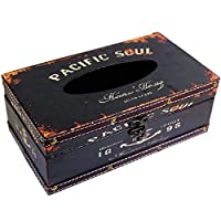 KiaoTime Retro Vintage Rustic Wood Tissue Holder Box Cover Facial Tissue Paper Dispenser Anchor Design Tissue Holder Home Decor(Black Pacific Soul)