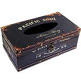 kiaotime Retro Vintage rústico madera de pañuelos faciales cubierta de la caja dispensador de pañuelos de papel de pañuelos diseño de ancla decoración del hogar (negro Pacífico alma)