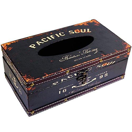 kiaotime Retro Vintage Rustikal Holz Tissue Halter Box Cover Facial Tissue Papier Spender Anchor Design Tissue Halter HOME DECOR (schwarz Pacific Soul)
