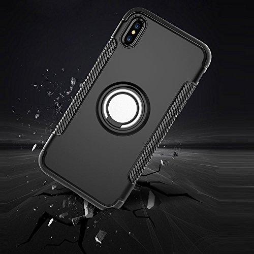 UKDANDANWEI Apple iPhone X Hülle mit 360 Grad Full Body Ring Ständer, Hybrid Dual Layer Defender Handyhülle Case [Shock Proof] für Apple iPhone X - Gold Cyan
