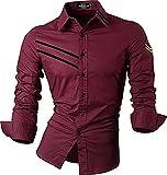 jeansian Herren Freizeit Hemden Shirt Tops Mode Langarmshirts Slim Fit 8371 (USA XL (180-185cm 75kg-80kg), Z099_WineRed)
