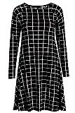Re Tech UK - Damen Kleid - ausgestellte A-Linie - langärmlig - Midi-Länge - Schwarz & Weiß kariert (klein) - 44