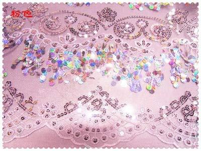 Stickerei Kostüm Bauchtanz - Lace Crafts - Mesh Pailletten Quasten Love Soluble Stickerei Stoff Latein Dance Bauchtanz Kostüme Stoffe 1 Meter NO 4