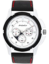 Armbandsur Analog white dial Chronograph Look Watch-ABS0008MBB