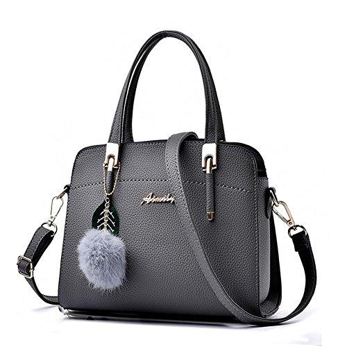 LDMB Damen-handtaschen Frauen PU-lederne große Kapazitäts-Schulter-Kurier-Handtaschen-justierbare einfache wilde Einkaufstasche deep gray