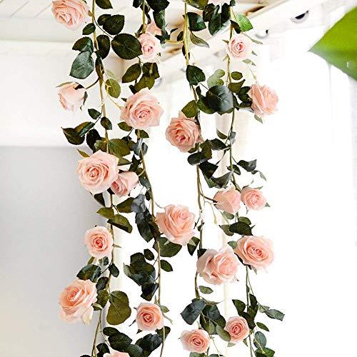 180 cm Blumengirlande Künstliche Blume Rosen Girlande für Hochzeit Deko Garten Haus (Rosa)