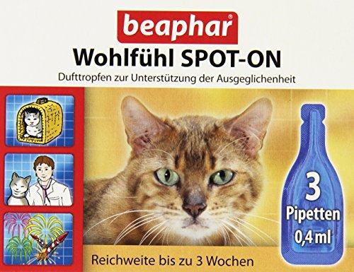 Wohlfühl Spot On für Katzen | Zur Entspannung für Katzen | Anti Stress bei Katzen | Für ein besseres Wohlbefinden | Für Katzen ab 12 Wochen | 3 x 0,4 ml