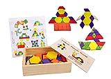 Lewo Tangrams Set Puzzles aus Holz Gehirntraining Geometrie Spiele Musterblöcke für Kinder (60 Stück)