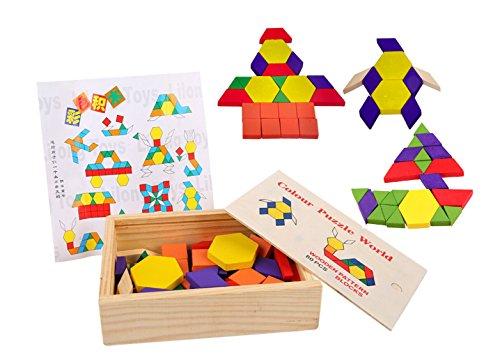Lewo Tangrams Set niños Brain Training Geometría Juegos Puzzles patrón bloques (60 unidades)