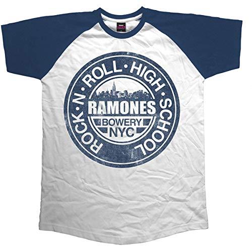 Rockoff Trade Ramones Bowery NYC Raglan Camiseta, Blanco, Medium...