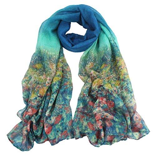 Schals Damen, ABsolute Damen Blumen Voile Stola Schal Langen Chiffon Wraps Schal (180cmX90cm, Hellblau)