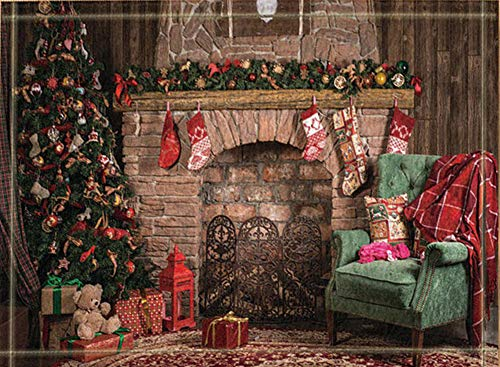 SRJ2018 Weihnachtsbaum geschmückt mit Weihnachtsschmuck und Kamin mit Geschenksocken Super saugfähig, Rutschfeste Matte oder Fußmatte, weich und bequem -
