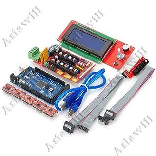Asiawill 3D Drucker Controller RAMPS 1.4 + Mega 2560 R3 + 5 x A4988 Motorantrieb Modul + 2004 LCD Controller für Arduino