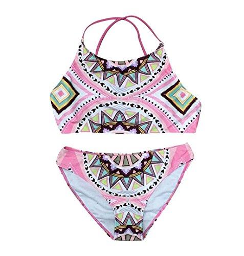 ZEZKT♪ Böhmische Gestrickte Reizvolle Spalte-Badeanzug-Bikini High Neck Printed Badeanzug BH Strand mit Retro Hollow Damen Push-Up Bikini Sets Bademode (S, Rosa) -