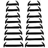 Wealsex schnürsenkel Elastische Silicone Wasserdichte verschiedene Farben 16 Stück Ein Paar(Schwarz)