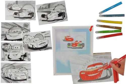 alles-meine.de GmbH 12 TLG. Bastelset - Stifte und Vorlagen für Fensterbilder / Poster -  Disney Cars Lightning McQueen  - Malen Malset Auto Cars Zubehör - zum Basteln - Fenste..