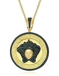 """Silvernshine 1.25 Ct Round Cut Green Garnet Versa Pendant 18"""" Chain In 14K Yellow Gold Over"""