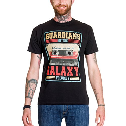 Guardians of the Galaxy Herren T-Shirt Awesome Mix Vol 2 Tape Marvel schwarz Baumwolle - (Marvel Superhelden Girl)