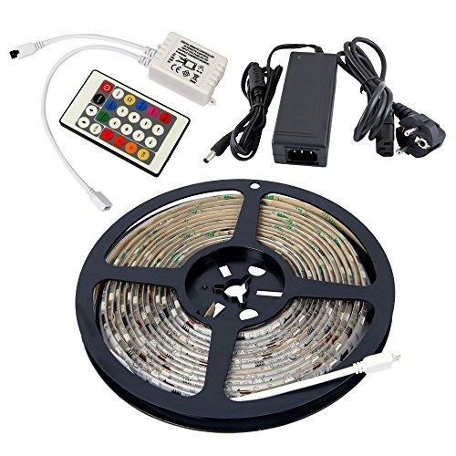 Yorbay 5M LED RGB Lauflicht wasserdicht 1003 IC, Leiste, Lichterkette, Lichtschlauch +Controller/Fernbedienung Trafo/Netzteil, Komplettset, mehrfarbig