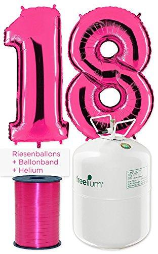 Ballon Zahl 18 in Pink inkl. freelium go 250 Helium & Ballonband - XXL Riesenzahl 100cm Komplett-Set - zum 18. Geburtstag - Party Geschenk...