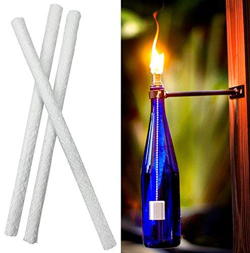 � Fiberglas Ersatz Tiki Fackel Dochte für Öllampen und Kerzen Wein Flasche leitet ()