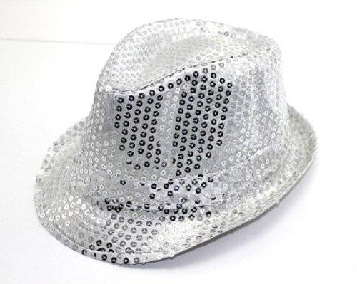 Paillettenhut Hut mit Pailletten Discohut Fasching Partyhut Karnevalshut Silber