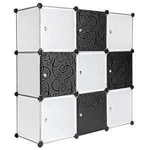 TecTake Etagère enfichable penderie à rangement modulables système clip noir blanc