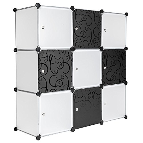 TecTake System Steckregal Schrank Regal Sideboard Kunststoff schwarz weiß -