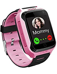 GPS Kids Smartwatch Phone for Boys Girls - GPS LBS Tracker Locator, Smart Watch Touch Screen, Wrist Watch with Call Voice Chat SOS Camera Flashlight Pedometer Alarm Clock for Student Smart Watch Gift