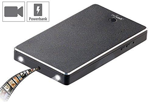 revolt Spycam HD: 2in1-Powerbank mit integrierter HD-Kamera PB-50.c, 5.000 mAh, LED, 2 A (Powerbank Spy-Cams)