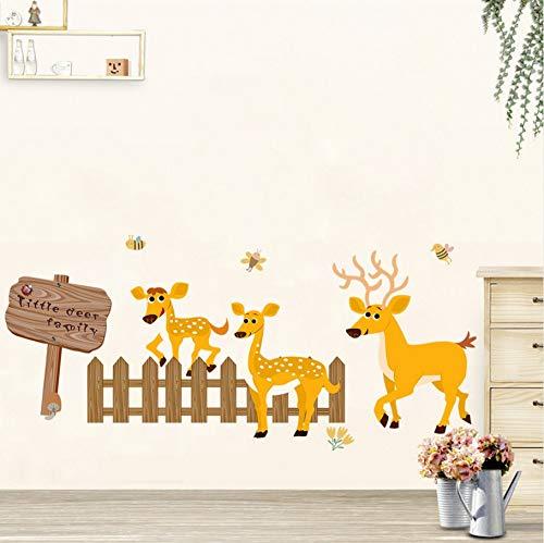 Zxfcczxf Deer Zaun Richtung Bord Wandaufkleber Wohnzimmer Schlafzimmer Sockelleiste Wandbild Poster Kunst Kinderzimmer Kindergarten Tapete