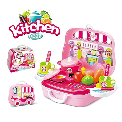 Kids Choize Kitchen Set Toy for Girls With Wheel Carry Case Suitcase (26 PINK KITCHEN) (Kitchen Playset Pink)