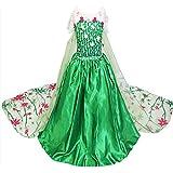 Little-Peach Disfraz de Vestido Princesa Verde con Capa Larga para Cumpleaños Carnaval Halloween Cosplay Niñas Talla 150 (7-8años)
