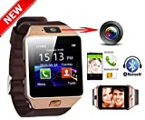 Deals Outlet DZ09 Bluetooth Smart Watch - Sim Smart Watch with 2.0MP Camera and Micro Sim card support for men and women for IOS, Android, Iphone, Windows, Blackberry, Audio MP3 Player, Calendar, Bluetooth Dialer, Photo Gallery, Fitness Tracker, Pedometer, Reminder, Inbuilt Speaker, Call Answer, Wireless, Multi-Language, Stopwatch, Digital TFT LCD Touch screen best for Personal, Birthday, Anniversary, Festival Gifts - Gold Colour