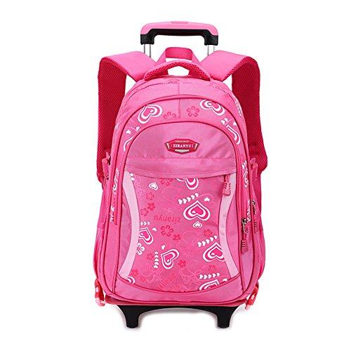 RYC Trolley Bag Cadeaux Rentrée Scolaire Sac à Dos avec Roulettes 2 en 1 Cartable Roulette Bagages Cabine Loisir Voyage Enfant Fille Garçon Primaire Maternelle 45*31*18cm Rouge Rose