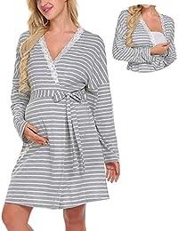 Lomon Vestido de Mujer para Maternidad Camisón de Noche para estancias en Hospital. Camisón de Noche para amamantar