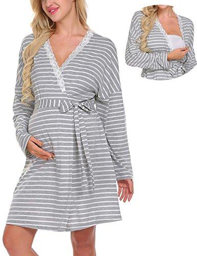 Lomon vestito premaman da donna camicia da notte per allattamento pigiama camicia da notte (m, grigio strisce_stile 2_vestaglia)