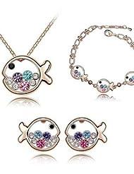 joyas de cristal de toda la venta Conjunto elegante diseño único cristal de pescado pendientes collar colgante de regalo anillo de novia