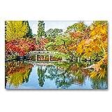 CALVENDO Tela in Tessuto di Alta qualità, 90 cm x 60 cm Orizzontale, Un Ponte Curvo e Foglie Colorate, Si riflettono in Un laghetto, Immagine su Giardino, Kyoto, Giappone Kunst, Kunst
