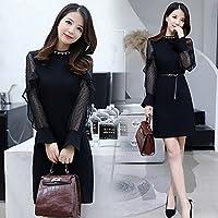 HYW Spring Slim Era Delgada, la Cintura del Vestido de Encaje Era Delgada, la Sección Larga del Vestido de Super Celebridad,Negro,L