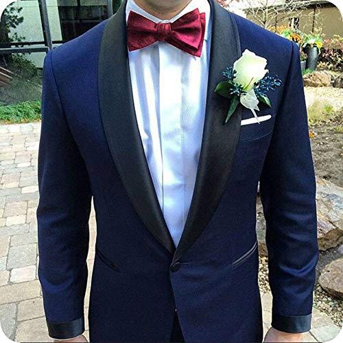 Homme Slim Kostüm Fit - GFRBJK Navy Blue Suit Men Blazer Hochzeit Herrenanzug mit Hose Schal Revers Formelle Slim Fit Smoking Jacke Kostüm Homme , Same As Image , Xs