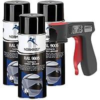 Peinture aérosol RAL 9005 noir brillant spray vernis pulvérisateur 3x 400 ml + 1x poignée originale pour bombes aérosols