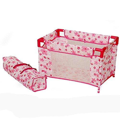 ODG Box Klappbett für Puppen mit Handy Tasche aus Stoff mit Blumen pink