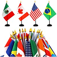 """Anley Juego de Banderas de Escritorio 24 países 7,5 x 5,5 Pulgadas Bandera de Escritorio Estadounidense en Miniatura con Poste Negro de 12,5""""- Color Vivo y Resistente"""