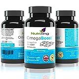 NutriZing Omega 3 6 9 verdreifachte Fischöl Komplexe Stärke ~1000mg für Frauen & Männer ~ 100% Geld-zurück-Garantie ~90 Kapseln ~ Leinsamenöl ~ EPA und DHA tragen zur normalen Funktion des Herzens bei